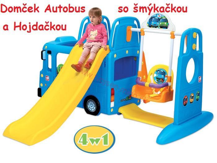 dcf6bf6f6 JOKO Detský domček záhradný Autobus so šmýkačkou a hojdačkou 2m x 1,1 x 1