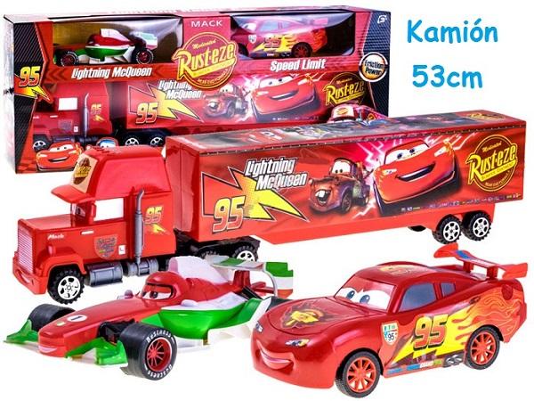 Cars, Kamión Mack 53cm + 2 autíčka, červený