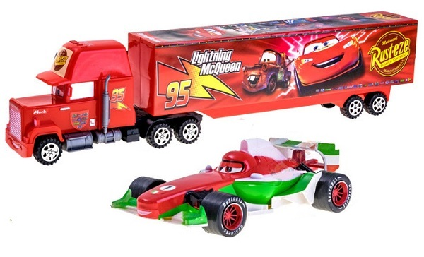 Cars, Kamión Mack 53cm + 1 autíčko, červený