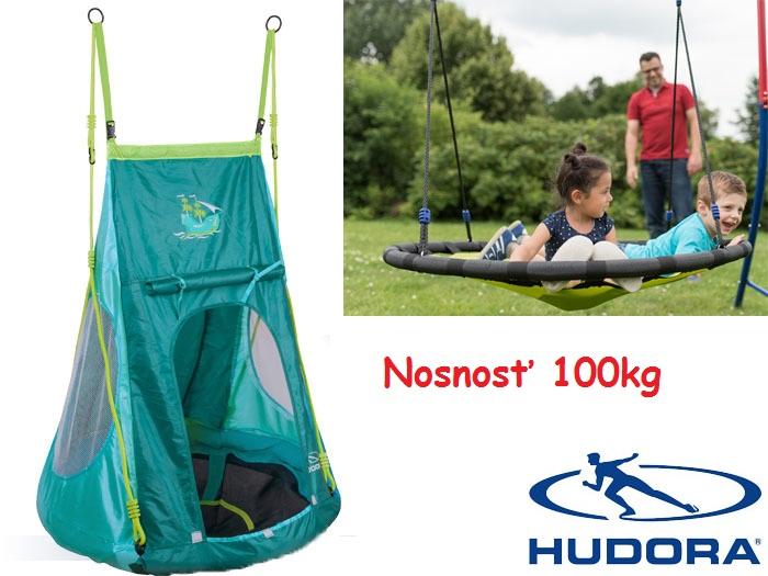 f9b6f99f32d Hudora, Záhradná hojdačka pre deti Hniezdo + stan, 90cm, nosnosť 100kg,  zelená