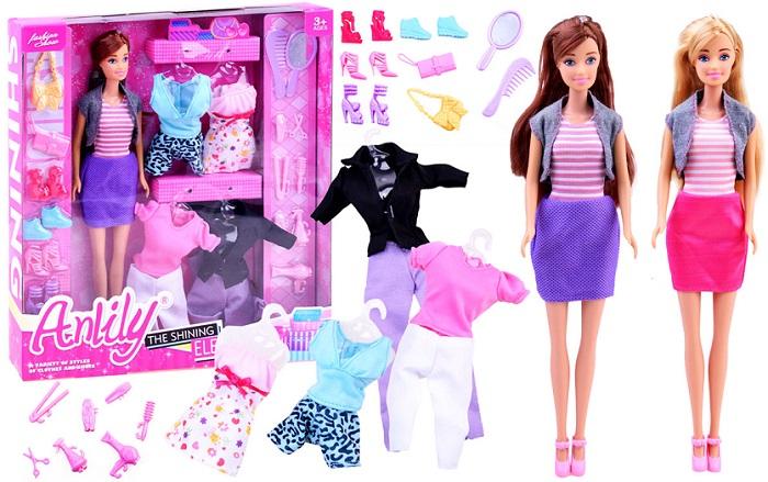 ANLILY Bábika Barbie + 5 druhov šiat + topánky + kabelky  6fbeb10dfb6