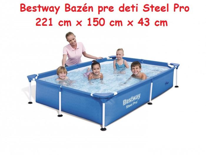Bestway 56401 Bazén Pre Deti Steel Pro 221 X 150 X 43 Cm