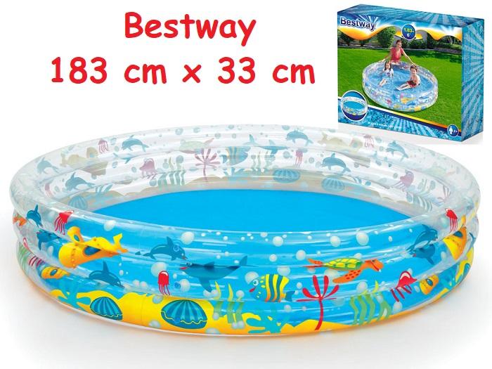 Bestway 51005 Nafukovací Bazén Pre Deti Okrúhy Podmorský Svet 183 Cm X 33 Cm