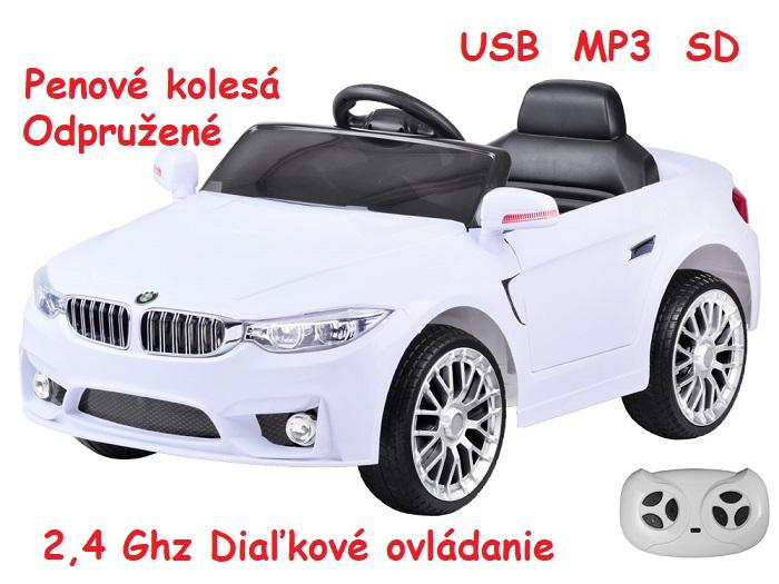 f59d9f7665404 JOKO Elektrické autíčko BW BETA, penové kolesá, USB, MP3, odpružené, biele