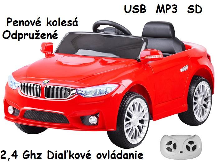 72f97c13ec085 JOKO Elektrické autíčko BW BETA, penové kolesá, USB, MP3, odpružené, červené