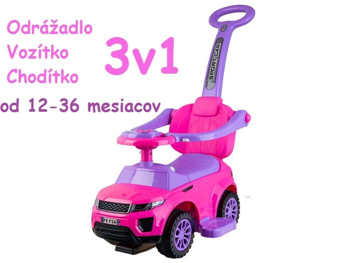 4a86ccbc9 JOKO Odrážadlo RANGE ROVER s Vodiacou tyčou 3v1, ružové