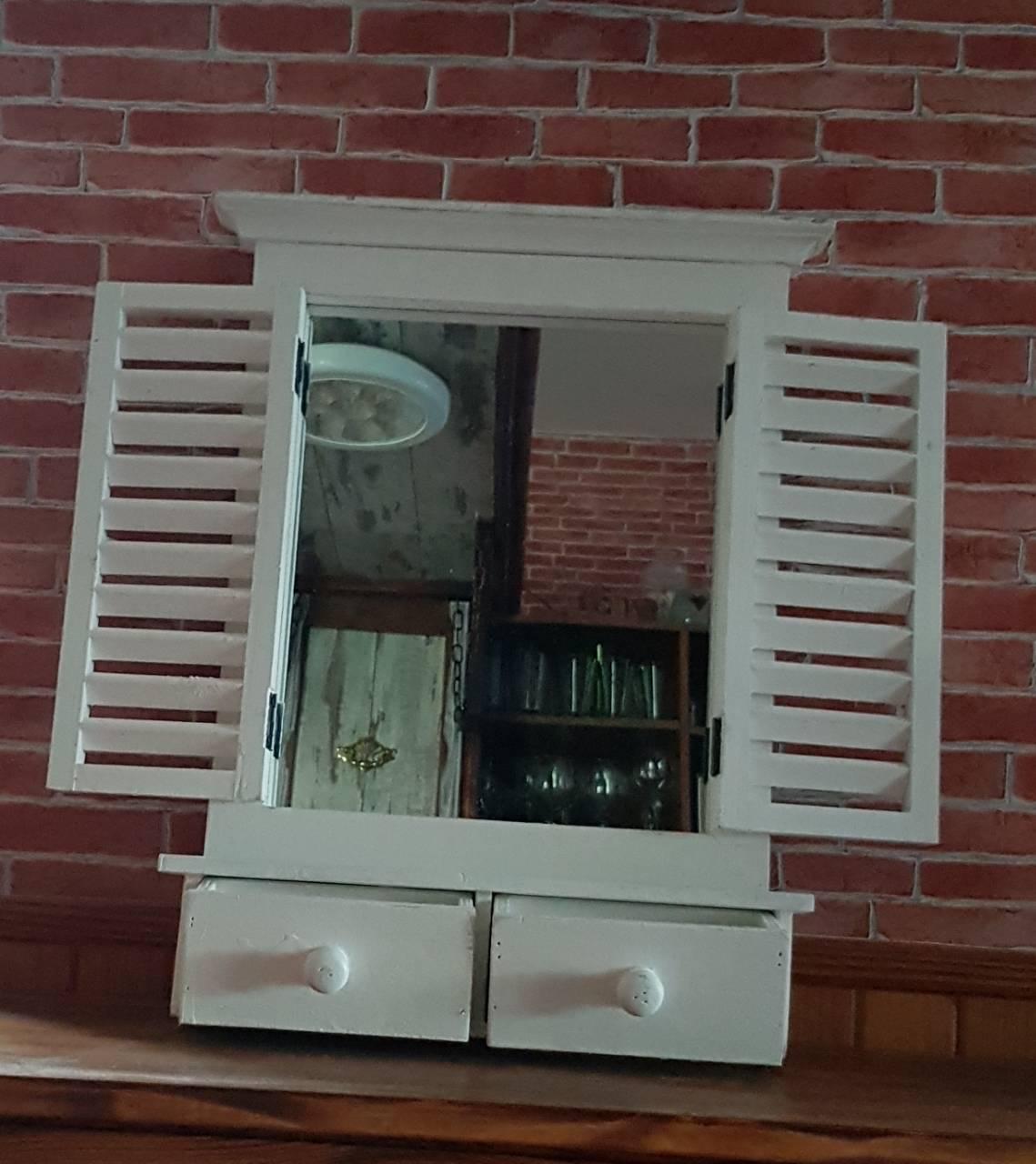 38f8fe50a Vintage Drevené zrkadlo okenica biele + 2 šuflíky 52cm