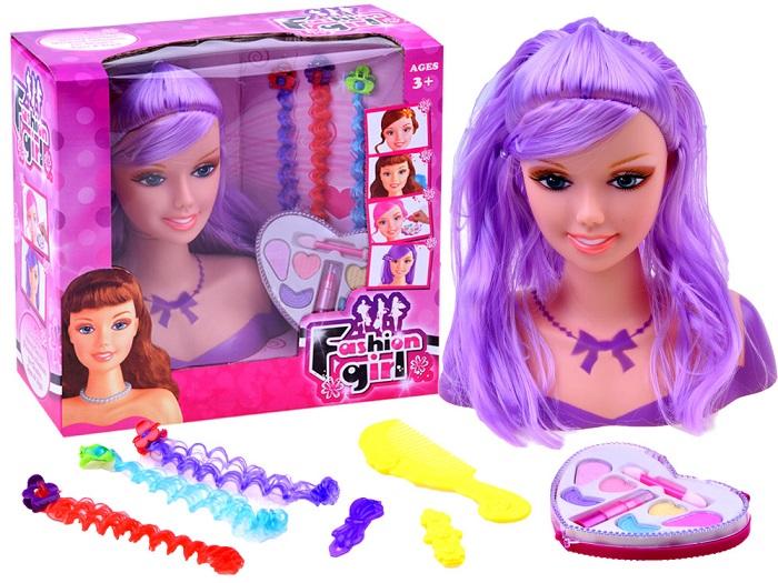 1c1af0aeb JOKO Bábika hlava na česanie a maľovanie + paleta tieňov s rúžom, fialové  vlasy