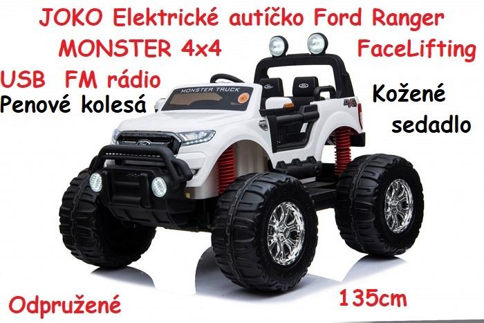 417197ac8f764 JOKO Elektrické autíčko Ford Ranger MONSTER 4x4 FaceLifting , penové  kolesá, kožené sedadlo, FM