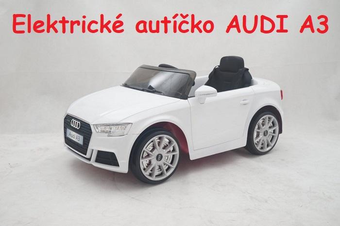 3a14b0915c22c JOKO Elektrické autíčko AUDI A3, USB, MP3, diaľkové ovládanie, biele