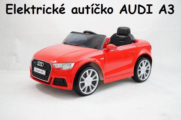 22375465f7488 JOKO Elektrické autíčko AUDI A3, USB, MP3, diaľkové ovládanie, červené