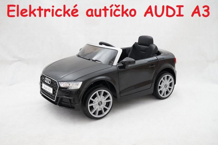 07e8e5227ac25 JOKO Elektrické autíčko AUDI A3, USB, MP3, diaľkové ovládanie, čierne