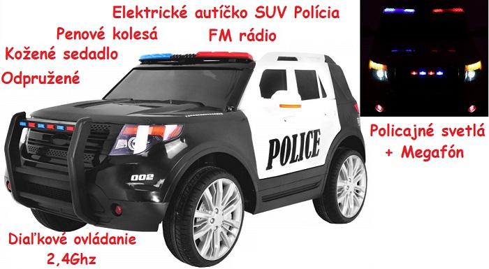 76483cb9cf209 JOKO Elektrické autíčko Polícia SUV, penové kolesá, kožené sedadlo, FM  rádio, Megafón